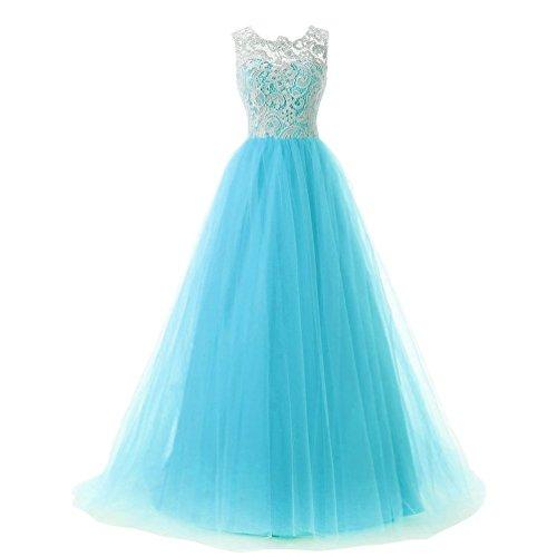 Zkoo donne formale maniche maxi abito da damigella abito di sfera dress azzurro xl