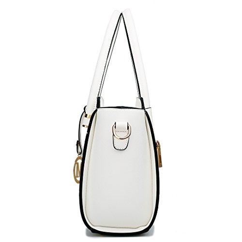 Miss Lulu Damen Klassische Geflügelt Handtasche Winged Schultertasche Klein Taschen 1625 White