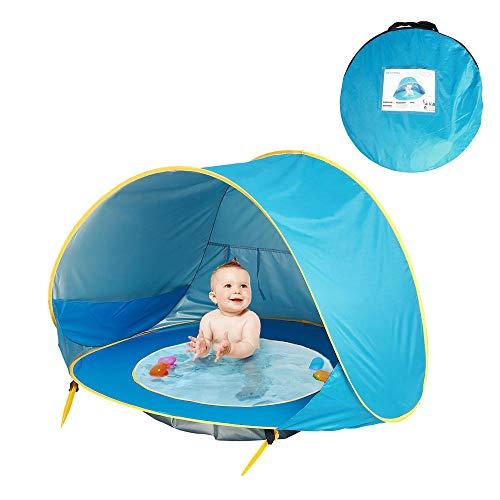 Ariyalk Baby-Strandzelt,Pop-up Strandmuscheln Zelt Babyzelt mit Strandpool Automatisch faltbares tragbares Zelt Sonnenschutz UV-Schutzzelt für Babys