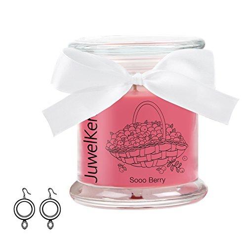 JuwelKerze Sooo Berry - Kerze im Glas mit Schmuck - Kleine Rote Duftkerze mit Überraschung als Geschenk für Sie (925 Sterling Silber Ohrringe, Brenndauer : 60 Stunden) (Kerze Ring)