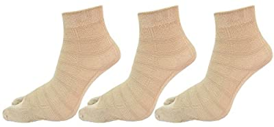 RC. ROYAL CLASS Women's Ankle Length Skin color Double Knit Cotton Socks (pack of 3)