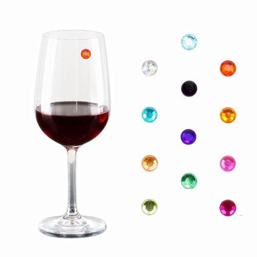 Kristall Magnetische Wein Charms–Set von 12–Aufbewahrungsbox enthalten–funktioniert mit jeder Art von Glas–TOLLE Party oder Geschenkidee–beste Wert–von - Weingläser Farbige Multi