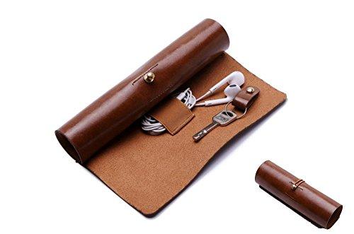 BoomYou Leder Geldbörse Roll Up Fall Stift Fall Lagerung Roll Tasche Bleistift Hülle Schlüsselhalter für Oberfläche / iPad Touch Pen Datenkabel Make-up - Leder Kreative Persönlichkeit Retro Style - Braun