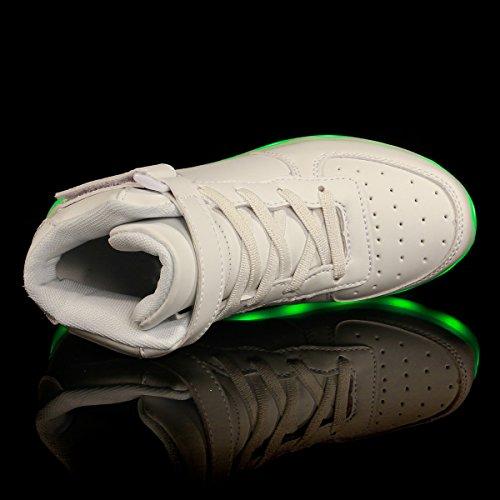 FLARUT LED Chaussures Haut Haut Light Up Sneakers USB Boot Flashing Chaussures Avec Télécommande Pour Femmes Hommes Enfants Garçons Filles Blanc