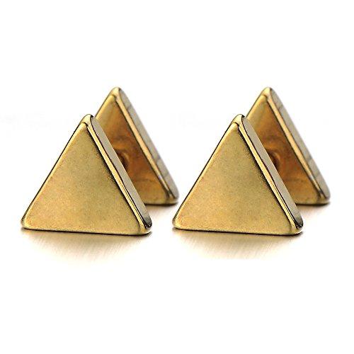 5MM Gold Dreieck Herren Ohrstecker Ohrringe Fakeplugs Fake Ohr-Plug Tunnel Gauges Ohr-Piercing Edelstahl. 1 Paar
