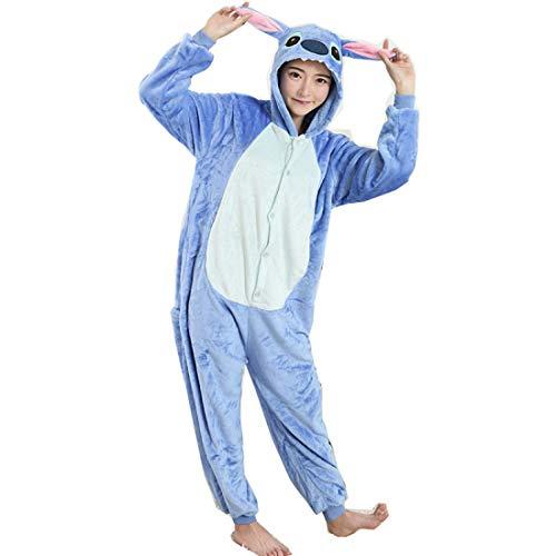 Erwachsene Für Kostüm Blau Monster - DUKUNKUN Erwachsene Pyjamas Cartoon/Blau Monster Pyjamas Kostüm Flanell Blau Cosplay Für Tier Nachtwäsche Cartoon Halloween Festival/Urlaub/Weihnachten,S