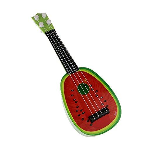 Juguetes Musicales 4 Cuerdas Niño Guitarra Frutas Simulación para Niños - Rojo
