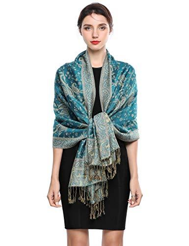 Elegante Bufanda Estampada para Mujer Lujoso Chal Cálido con Borla Suave Pashmina Estilo Paisley Étnico...
