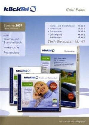 KlickTel Goldpaket Sommer 2007, 1 CD-ROM Enth.: Telefon- und Branchenbuch, Inverssuche, Routenplaner Deutschland u.Europa Europa-telefon