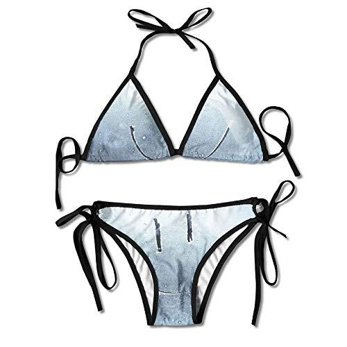 Bathroom Smile Pattern Womens Sexy Bikini Set Beach Swimwear Adjustable Swimsuit 2 Piece