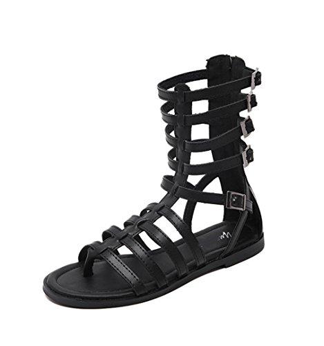 WZG Der neue dünner Streifen Zehenstegsandale Xia Jiping Unterseite Schuhe römische Sandalen kühle Stiefel Hohlzylinder in der freien Natur Black