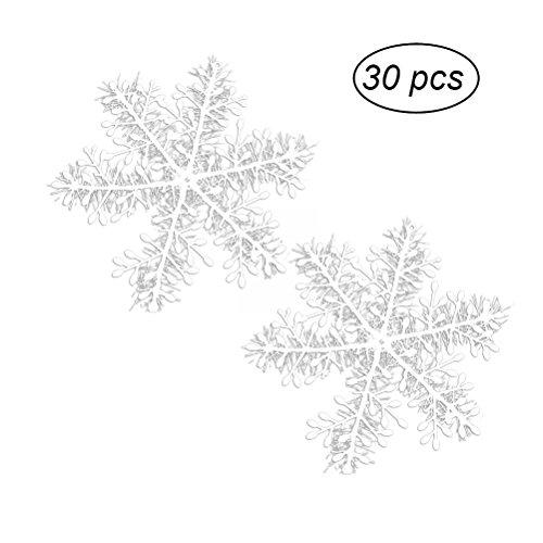 OULII Décoration de Noël de flocons de neige blancs de Noël décorations de Noël de flocons de neige d'arbre de Noël, paquet de 30