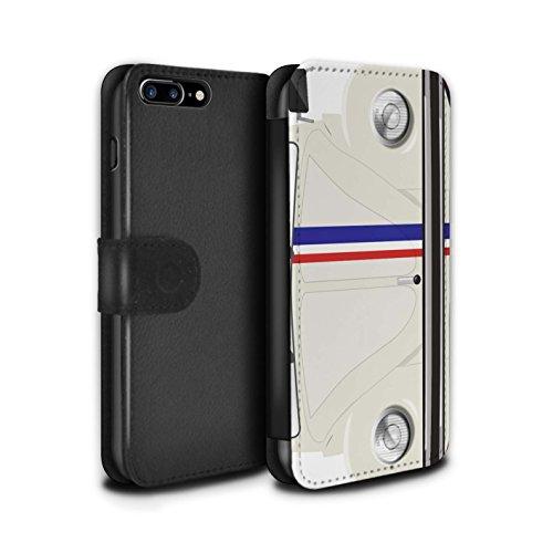 STUFF4 PU-Leder Hülle/Case/Tasche/Cover für Apple iPhone 8 Plus / Rennen Streifen Muster / Retro Beetle Kollektion Rennen Streifen