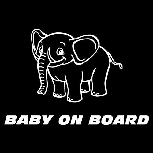 Zxdcd 17.5X11.6 Cm Elefanten Cartoon Tier Cool Baby An Bord Auto Aufkleber Vinyl Aufkleber Zubehör Weiß (Cooles Auto-spiegel-zubehör)