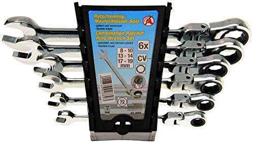 Kraftmann 30004 Jeu de clés mixtes à cliquet têtes flexibles, Argent, 8-19 mm, Set de 6 Pièces
