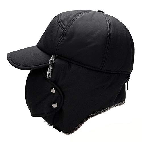 Smilikee - Sombrero de Invierno Unisex con Orejeras y pasamontañas Grueso Resistente al Viento, Gorro Ruso cálido con máscara, Negro, Talla única