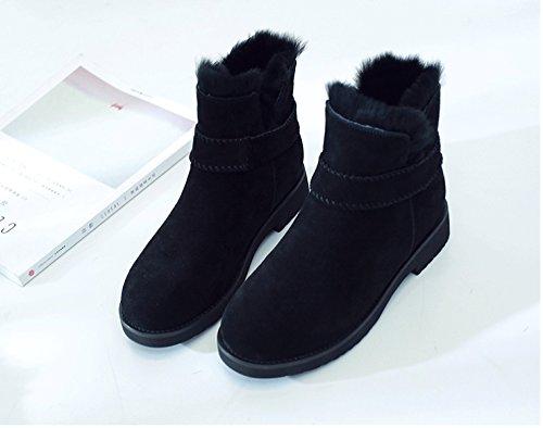 Black Neve Calda Piatti Da Invernali Da Lana Pelle In Stivali Stivali In Donna Velluto Vera Cotone In GSHGA Più qEUOq