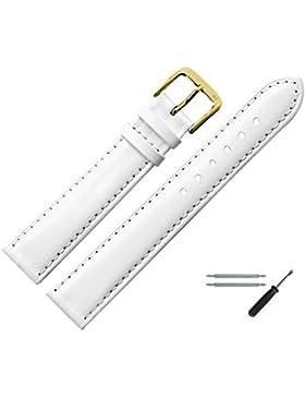Uhrenarmband 14mm Leder weiss glatt, glänzend, mit Naht - MADE IN GER - erstklassiges Lederarmband für Uhren mit...