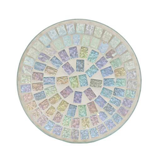 Ice White Lustre Mosaic Große Kerzenplatte -