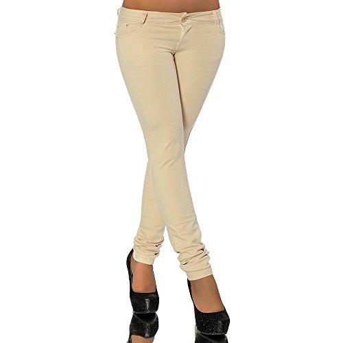 G701 Damen Jeans Look Hose Röhre Leggings Leggins Treggings Skinny Jeggings, Farben:Beige;Größen:38 (M)