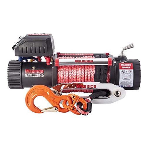 Seilwinde elektrisch 12v Fernbedienung 5,4t Motorwinde IP68 OFFROAD Zugwinde 6,5PS Elektrowinde WARRIOR Winch Samurai S12000 Kunststoffseil Seilfenster -