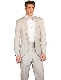 Dressvip Costume Queue de Morue Homme Père Mariage Cérémonie Couleur Unie  Champagne 3 Pièces Veste Ceinture c2831255a68