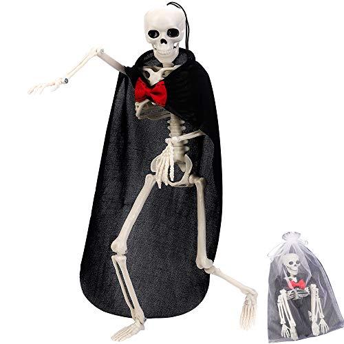 CGBOOM Halloween Deko Skelett, Deko-Figur Horror Skelett Modell Ganzkörper Hängendes oder Sitzende Skeleton mit Hängendem Seil für Halloween, Karneval und Themen Partys, 40 cm (1 Stück Bräutigam)