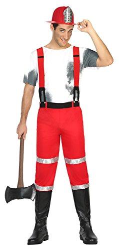 Atosa 17046 - Feuerwehrmann, Herrenkostüm, Größe XL, (Hund Feuerwehrmann Kostüm)