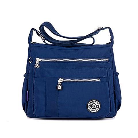 TianHengYi Womens Lightweight Nylon Cross-body Shoulder Bag Casual Messenger Bag with Zipper Pockets Navy