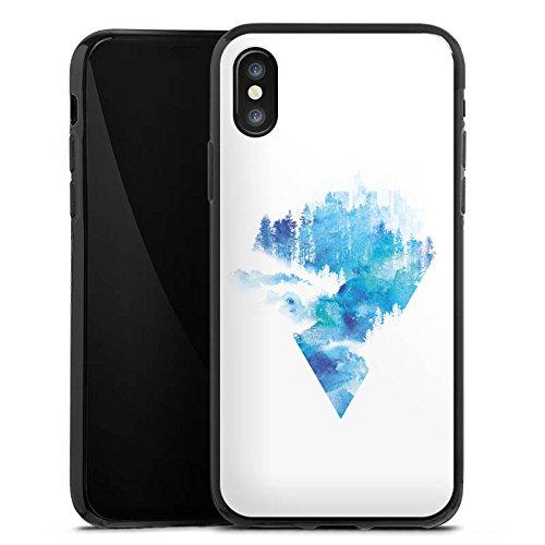Apple iPhone X Silikon Hülle Case Schutzhülle Dreieck Blau Weiß Silikon Case schwarz