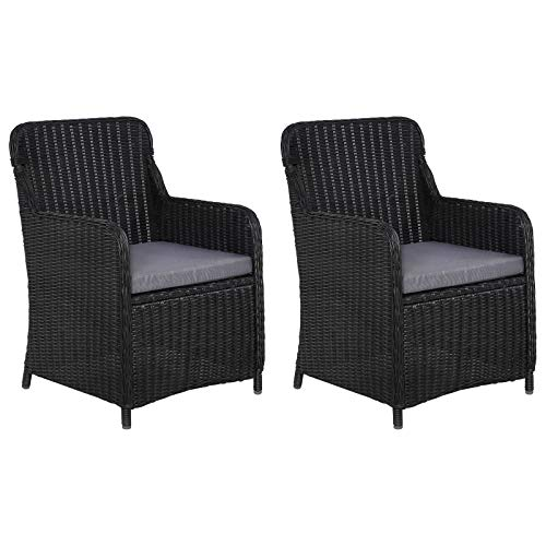 vidaXL 2X Gartenstuhl mit Polster Poly Rattan Gartensessel Sessel Stuhl Stühle