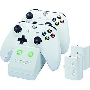 Venom Twin Docking Station inkl. 2 Zusatzakkus für Xbox One & One S – weiß – Perfekt für die weiße Xbox One S & Xbox One Konsole