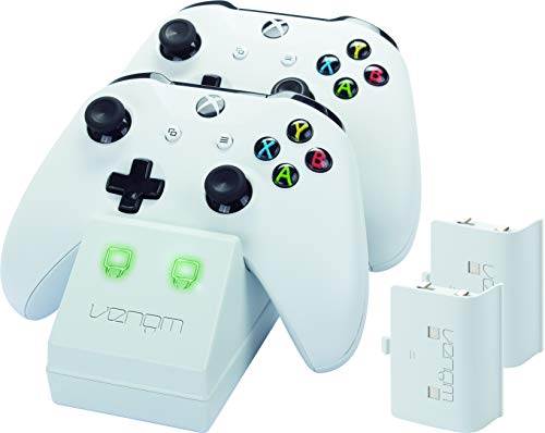 Venom - Twin Docking Station & Battery Packs Con Cubiertas, Color Blanco (Xbox One)
