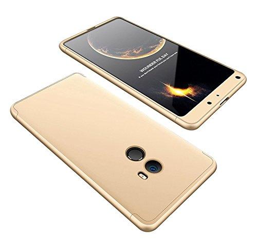 2ndSpring Xiaomi Mi Mix 2 Funda, Funda Xiaomi Mi Mix 2 360 Grados Integral para Ambas Caras + Cristal Templado, Luxury 3 in 1 PC Hard Skin Carcasa Case Cover para Xiaomi Mi Mix 2 Oro