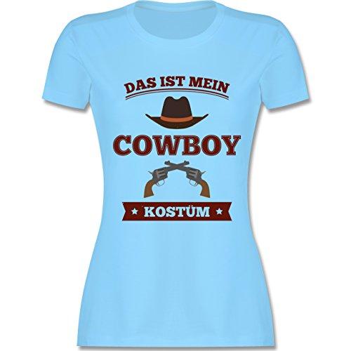 Shirtracer Karneval & Fasching - Das ist Mein Cowboy Kostüm - Damen T-Shirt Rundhals Hellblau