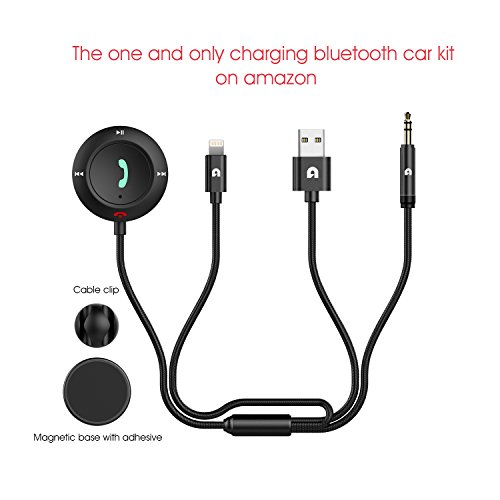 Car Kit Bluetooth (Bluetooth Car Kit, Micar Bluetooth 4.2 Empfänger mit Blitz Ladekabel für iPhone 6 / 6s / 7 / 7s / 8 / X, Freisprecheinrichtung Wireless Call & Music Streaming Nylon 3,5 mm Aux Kabel, Eingebautes Mikrofon für Car & Home Stereo System)