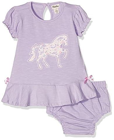 Hatley Jersey Flounce Dress & Bloomer Set, Robe Bébé Fille, Purple (Horse), 6 Mois
