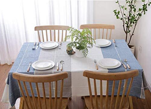 Boqingzhu Tischdecke Tischtuch Lotuseffekt Abwaschbar Pflegeleicht Schmutzabweisend Fleckschutz Eckig 130 x 220 cm Blau Grau und Weiß