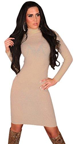Koucla Damen Strickkleid & Pullover mit Rollkragen & Feinripp Einheitsgröße (32-38), beige