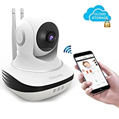 Idea Regalo - TOGUARD Telecamera di Sicurezza IP Wi-Fi Telecamera Archiviazione Amazon Cloud , Videocamera di sorveglianza HD 720P, Telecamera Nascosta Senza Fili Wi-Fi, Monitor per Bebè Telecamera per Registrazi