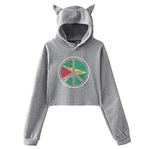 Johnson hop Guyana Flagge Friedenszeichen Design Katze Ohr Hoodie Pullover Mädchen Ernte Top Mode Warm Cool(M,Grau) -