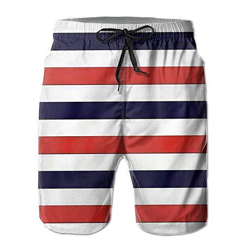 Shorts de Verano con Estampado de Rayas de Empalme para Hombre Pantalones Cortos hasta la Rodilla Bañadores...