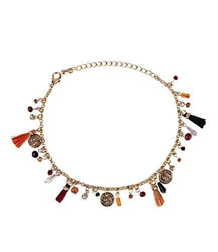 SIX Damen Armband, Armkettchen, Armschmuck, Bettelarmband, Anhänger, Quasten, Tassel, Perlen, Gold (748-688)
