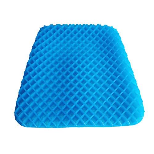 LWKBE Blaues Gel-Sitzkissen, Rutschfester Stuhl-Pad-Bezug Breathable Grid verhindert weichen Sitz-Pad Sweaty Bottom für Büro-Auto-Rollstuhl, Ei-Stuhl-Kissen-Schmerz entlasten Müdigkeit zurück Bottom Grid