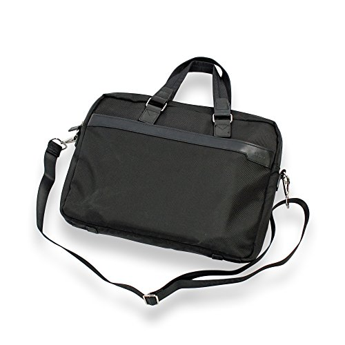Schwarz Laptoptasche 15,6 Zoll mit Ledergriffe – Leichtgewichtig Notebooktasche - Elegant – RindLeder Handle – Business - Schmales Design – Apple -Tablet & Macbook (Elle Tasche)