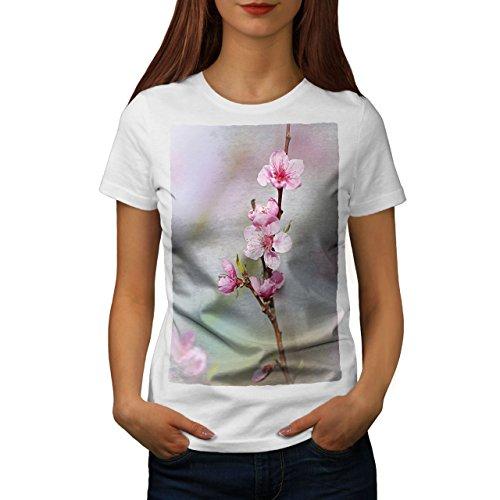 wellcoda Sakura Baum Blühen Frau T-Shirt japanisch Lässiges Design Bedrucktes T-Shirt -