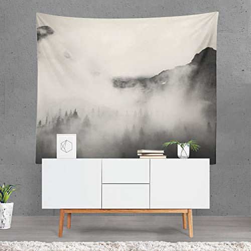 prz0vprz0v Mountain Tapestry, Forest Wall Art, Trees Wall Sheet, Woods Home Decor, Wilderness Tapestry, Forest Wall Drapes, Tree Gift, Misty Clouds 40