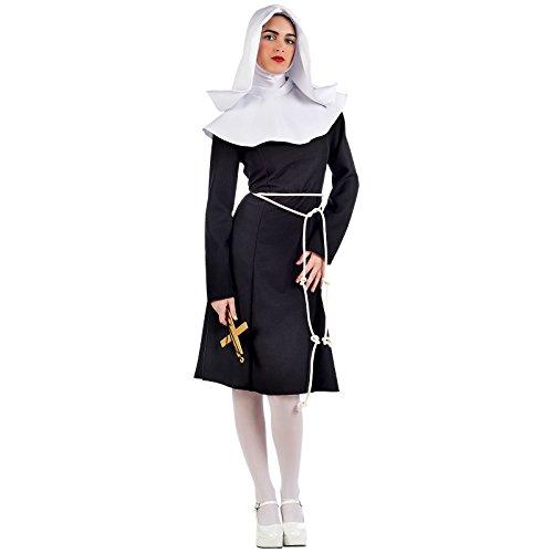 Gospel Nonne Sister Pop Kostüm Damen Kleid und Kopfbedeckung für Mottoparty und Karneval schwarz - L