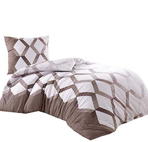 4tlg Mako Satin Bettwäsche 2X 135x200 cm Bettbezug 2X 80x80 cm Kissenbezug mit YKK-Reißverschluss 100% Baumwolle Karo Sand beige - Premium Pack Bettwäsche-set
