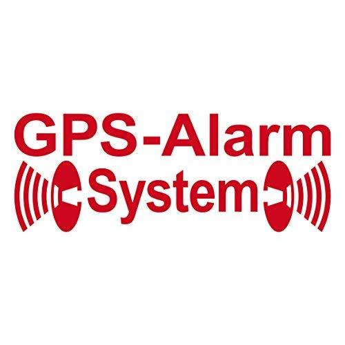 2 Stück rot GPS Alarm System Aufkleber die cut Auto Fenster Tattoo Folie gespiegelt innenklebend